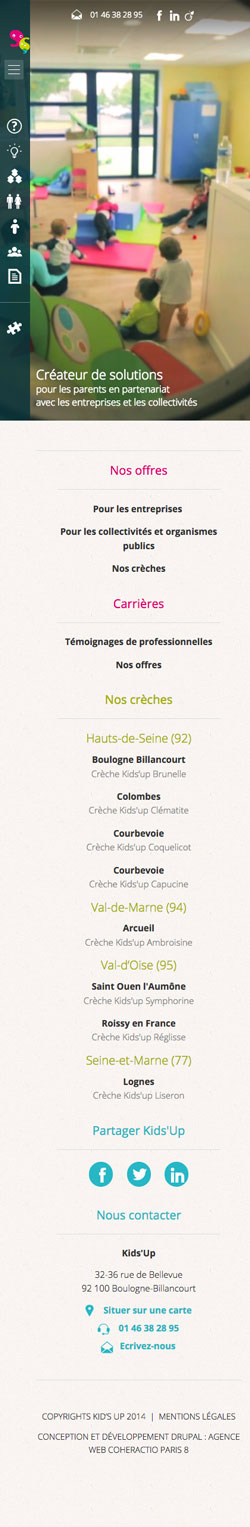 Kids'up - Site responsive mobile Drupal par l'Agence Web Paris Coheractio