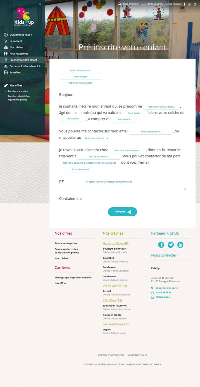 Kids'up - Développement site Drupal responsive - Agence Web Paris Coheractio