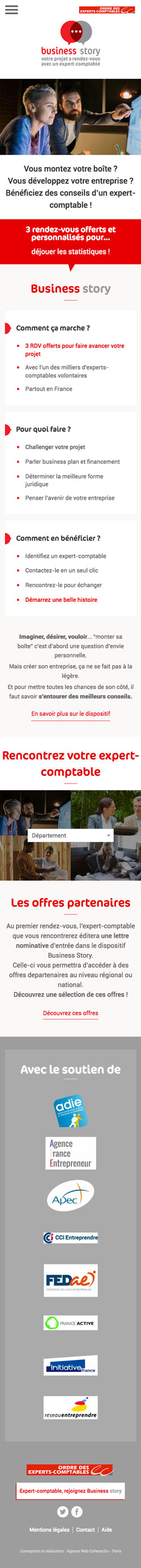 Business Story - Conception site mobile par Agence Web Coheractio