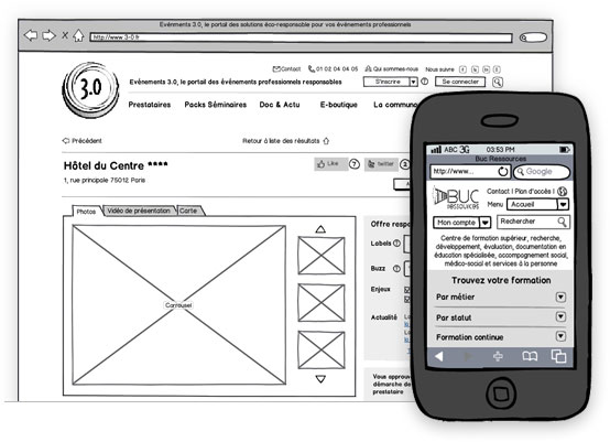 Création de sites Internet - optimisation UX par wireframes