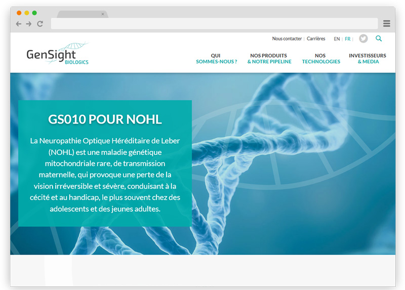 Gensight Biologics - Design du site web par Coheractio - Wordpress